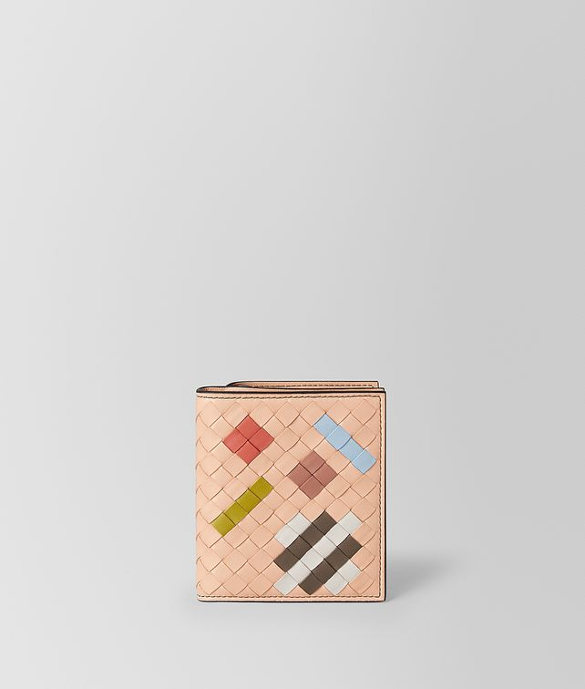 BOTTEGA VENETA PEACH ROSE INTRECCIATO ABSTRACT MINI WALLET Mini Wallet [*** pickupInStoreShipping_info ***] fp