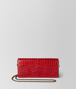 CHINA RED CROCODILE CHAIN WALLET