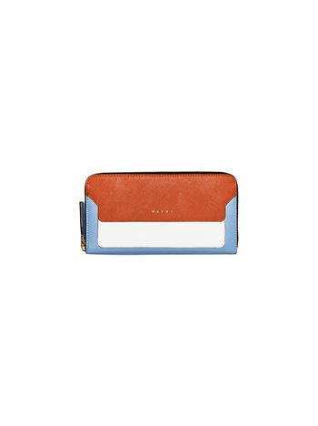 Marni Rectangular wallet in saffiano calfskin with zipper Woman