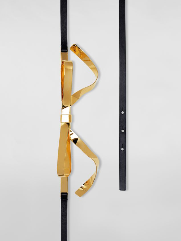Marni Belt in calfskin with gold-tone bow Woman - 4