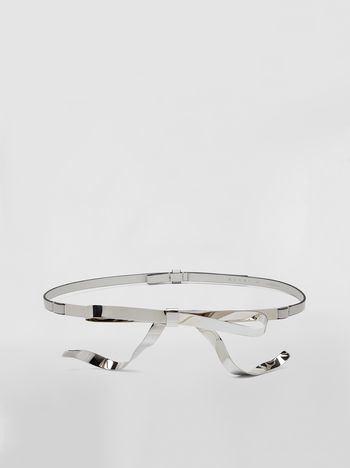 Marni Belt in calfskin with silver-tone bow Woman