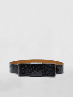 Marni Belt in black ostrich-print calfskin Woman