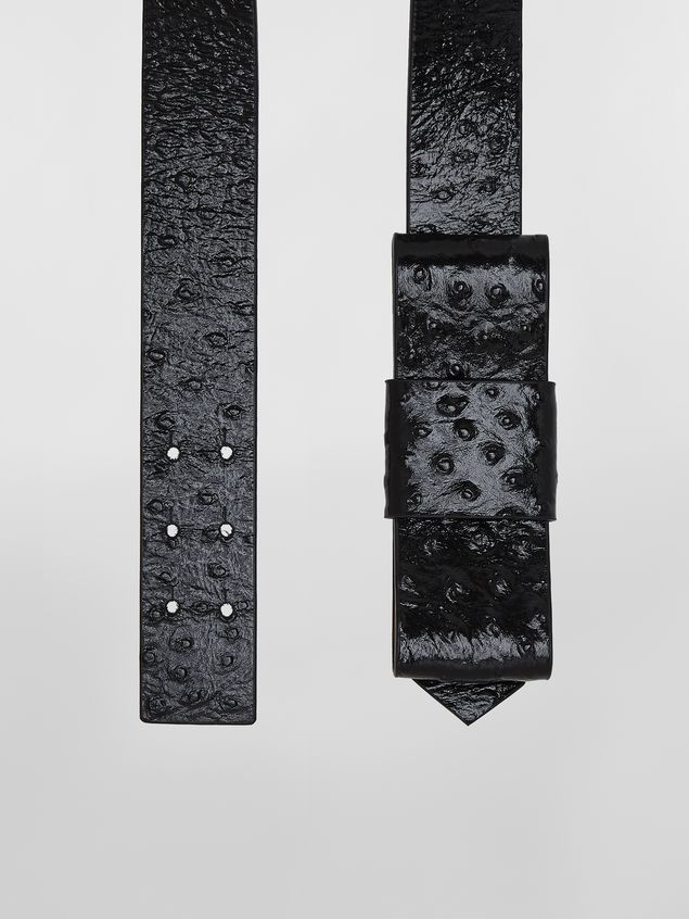 Marni Belt in black ostrich-print calfskin Woman - 4