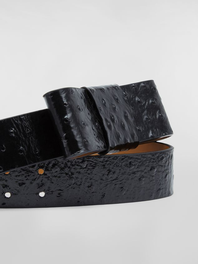 Marni Belt in black ostrich-print calfskin Woman - 3