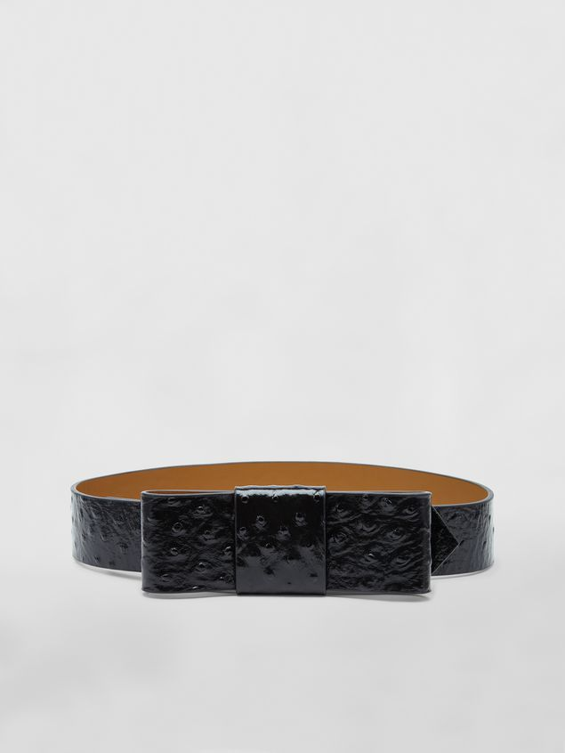 Marni Belt in black ostrich-print calfskin Woman - 1