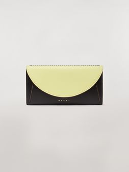 Marni Rectangular wallet in black and yellow calfskin  Woman