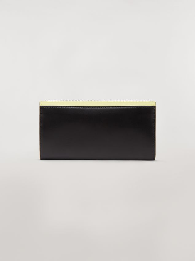 Marni Rectangular wallet in calfskin black and yellow Woman