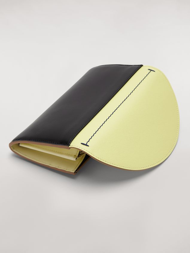 Marni Rectangular wallet in calfskin black and yellow Woman - 4