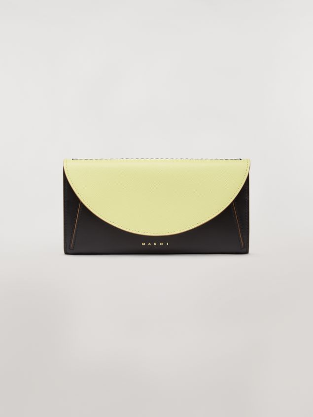 Marni Rectangular wallet in calfskin black and yellow Woman - 1