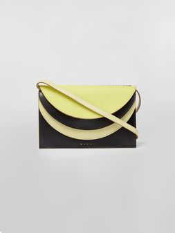 Marni Wallet in calfskin with triple flap black and yellow Woman