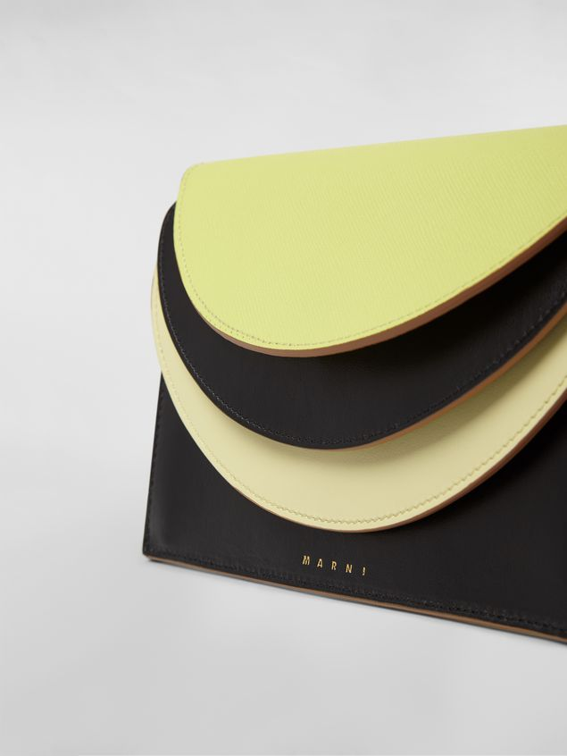 Marni Wallet in calfskin with triple flap black and yellow Woman - 4