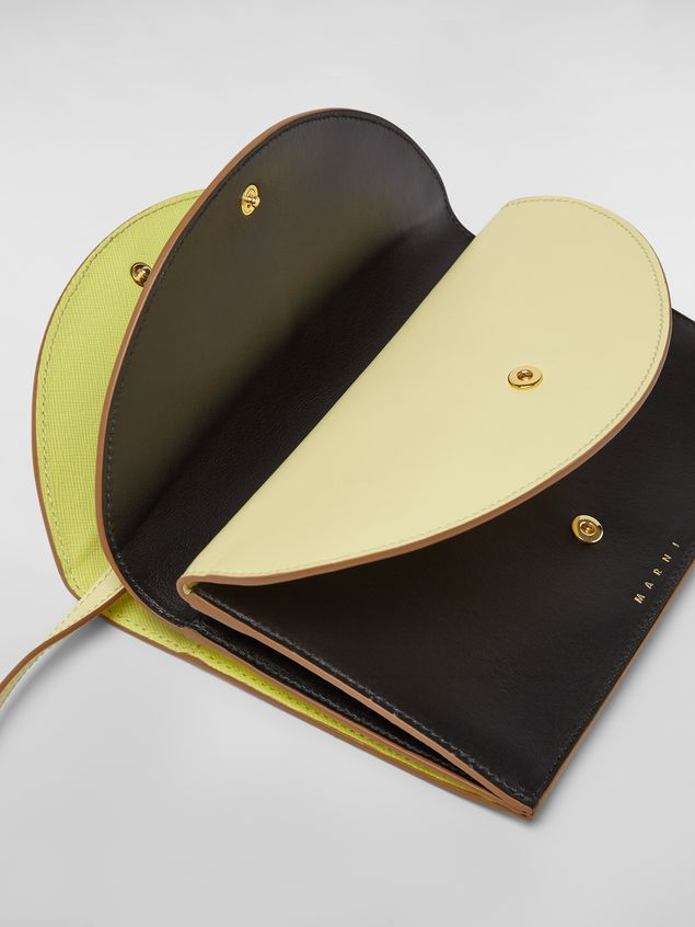 Marni Wallet in calfskin with triple flap black and yellow Woman - 2