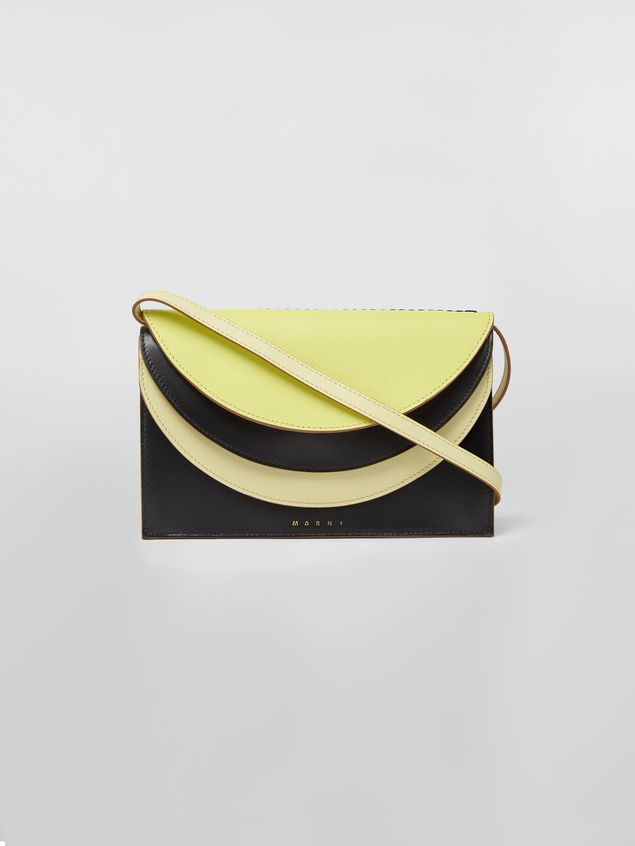 Marni Wallet in calfskin with triple flap black and yellow Woman - 1