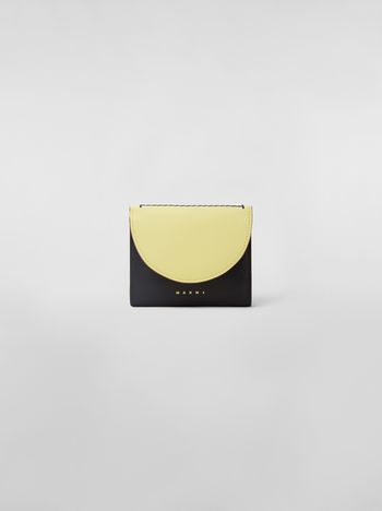 Marni Squared wallet in black and yellow calfskin Woman