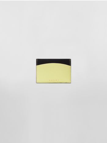 Marni Credit card case in black and yellow calfskin  Woman