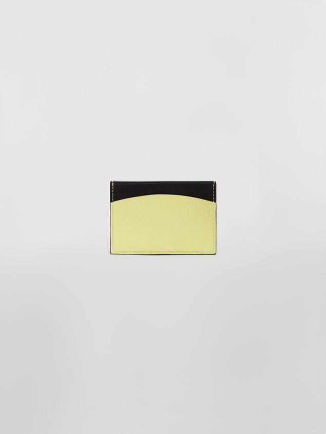 Marni Tarjetero de piel de becerro de color negro y amarillo Mujer