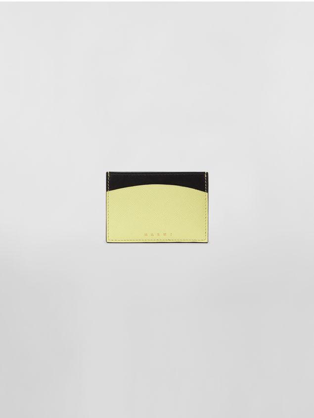 Marni Tarjetero de piel de becerro de color negro y amarillo Mujer - 1