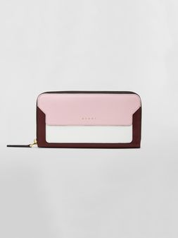 Marni Rectangular zip-around wallet in pink, white and burgundy saffiano leather   Woman