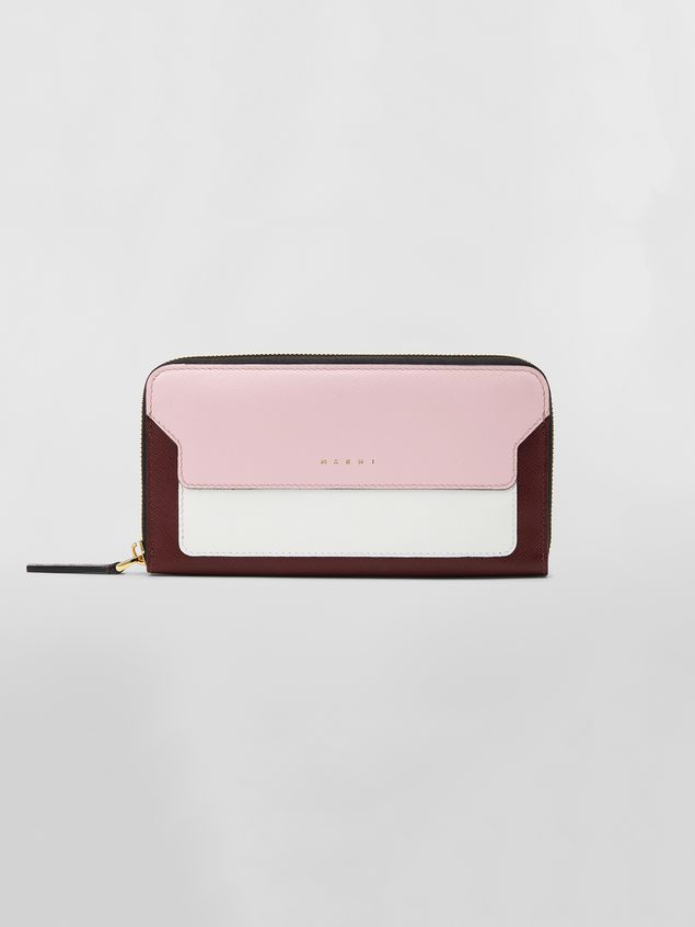 Marni Rectangular zip-around wallet in pink, white and burgundy saffiano leather   Woman - 1