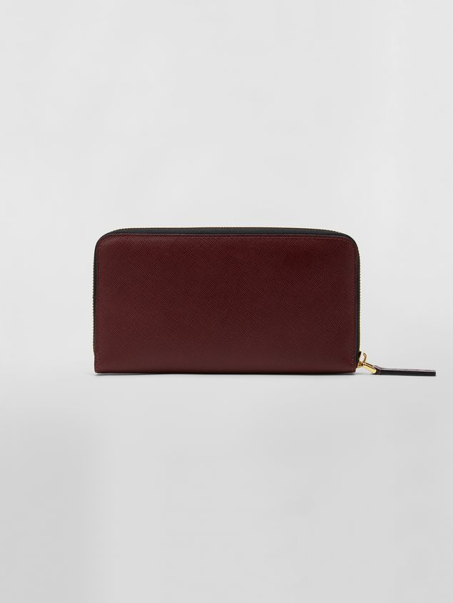 Marni Rectangular zip-around wallet in pink, white and burgundy saffiano leather   Woman - 3