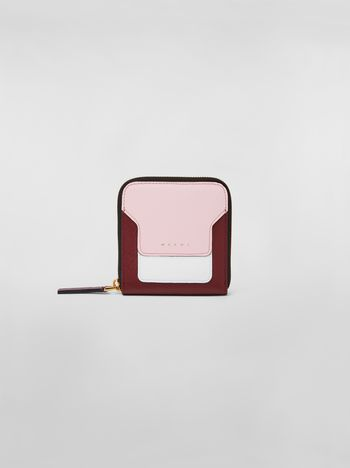 Marni Squared zip-around wallet in pink, white and burgundy saffiano leather  Woman