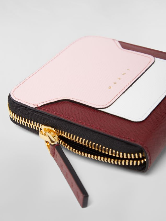 Marni Squared zip-around wallet in pink, white and burgundy saffiano leather  Woman - 4