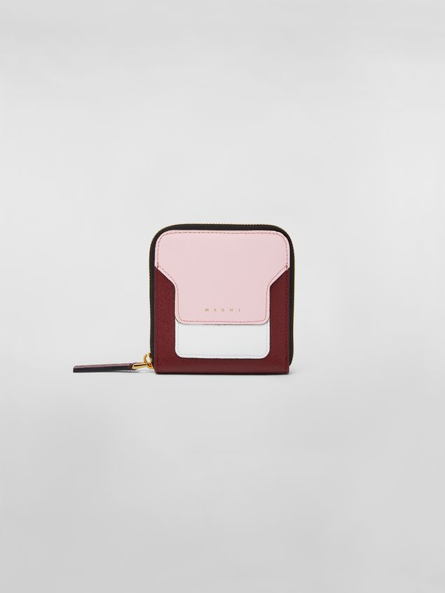 Marni Squared zip-around wallet in pink, white and burgundy saffiano leather  Woman - 1