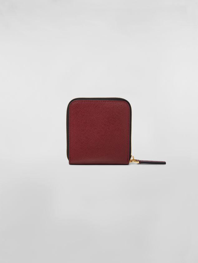 Marni Squared zip-around wallet in pink, white and burgundy saffiano leather  Woman - 3