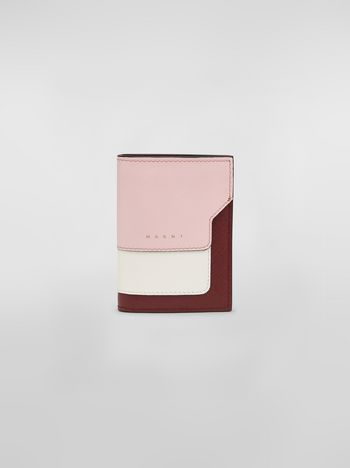 Marni Bi-fold wallet in pink white and burgundy saffiano leather   Woman