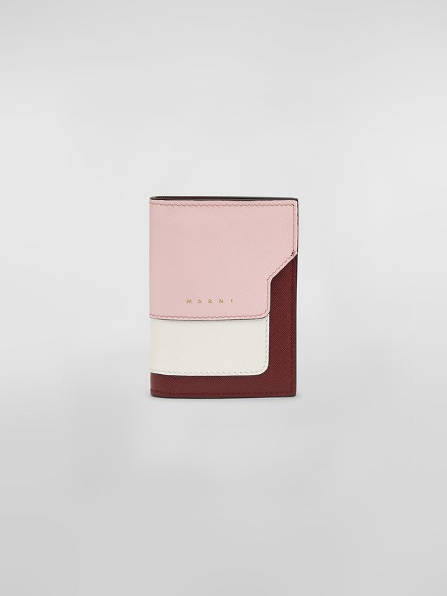 fd4c6c3faa24 Marni Black, burgundy and blue saffiano leather bi-fold wallet Woman - 1 ...