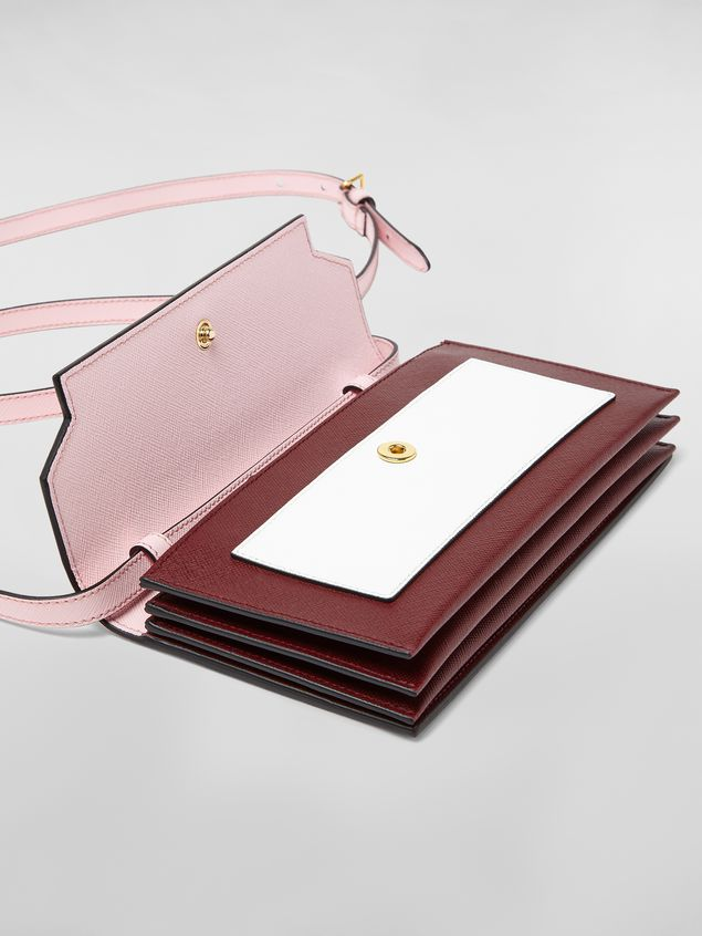 Marni Bellows wallet in pink, white and burgundy saffiano leather  Woman - 4