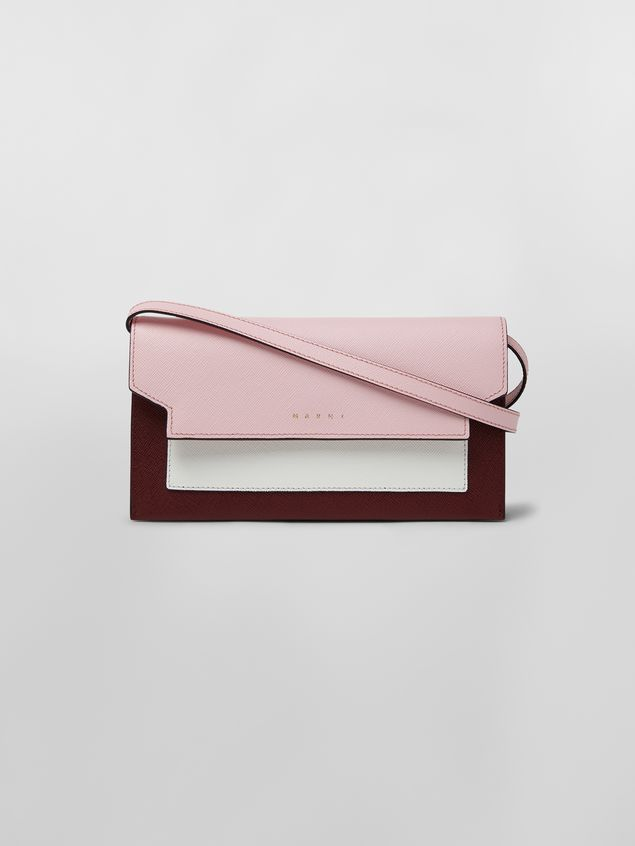 80e65aa4bc62 Marni Bellows wallet in pink, white and burgundy saffiano leather Woman - 1  ...