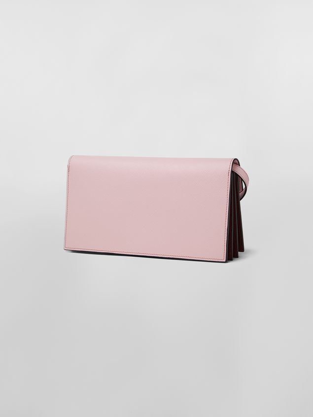 Marni Bellows wallet in pink, white and burgundy saffiano leather  Woman - 3