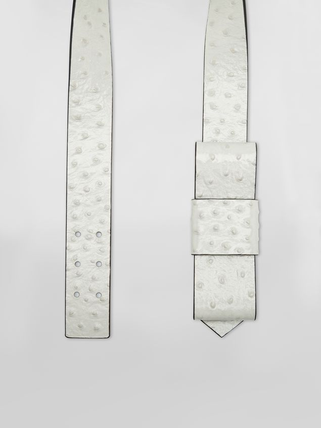 Marni Belt in white ostrich-print calfskin  Woman - 4