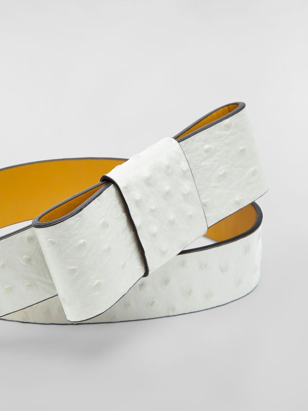 Marni Belt in white ostrich-print calfskin  Woman - 3