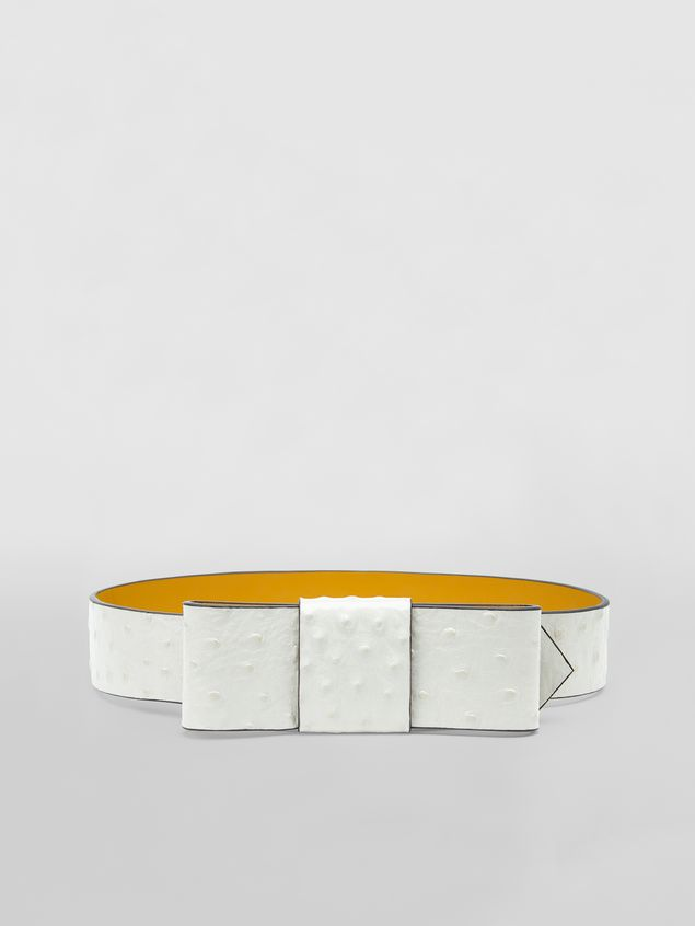 Marni Belt in white ostrich-print calfskin  Woman - 1