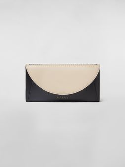 Marni Rectangular wallet in calfskin black and tan Woman