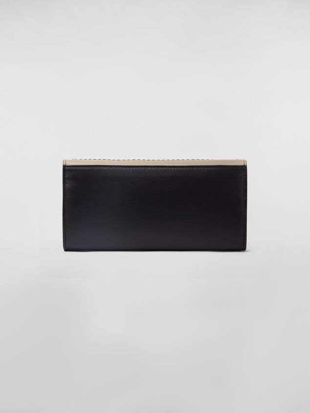 Marni Rectangular wallet in black and tan calfskin  Woman