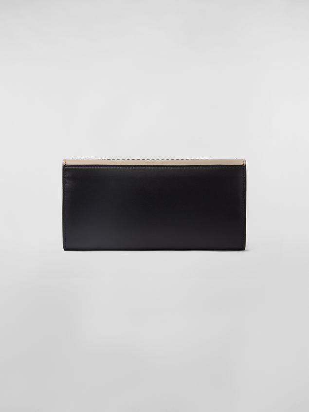 Marni Rechteckige Brieftasche aus Kalbsleder in Schwarz und Hellbraun Damen