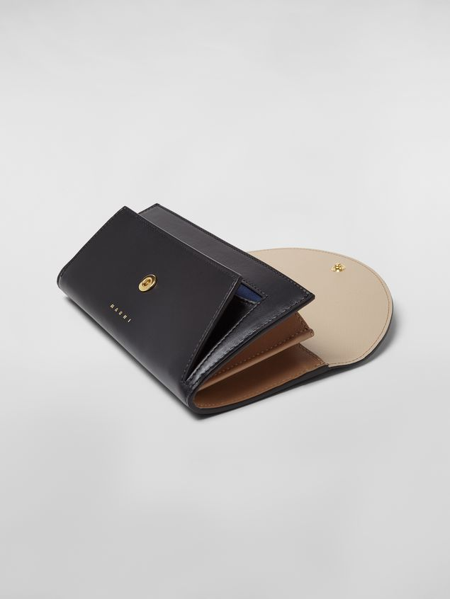 Marni Rectangular wallet in black and tan calfskin  Woman - 5