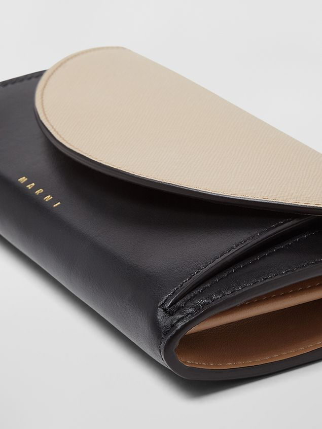Marni - Rectangular wallet in calfskin black and tan - 4