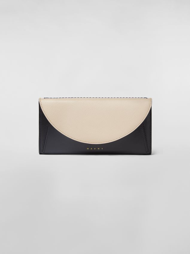 Marni Rectangular wallet in black and tan calfskin  Woman - 1