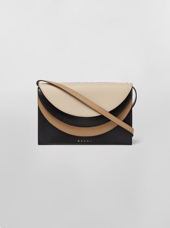Marni Wallet in black and tan calfskin with triple flap  Woman