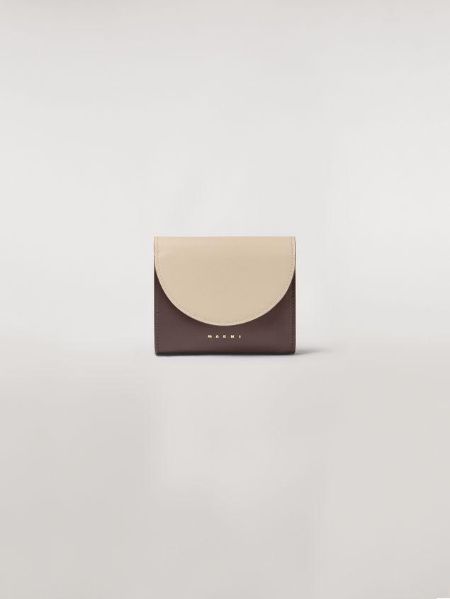 Marni - Squared wallet in calfskin black and tan - 1