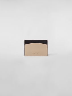 Marni Credit card case in black and tan calfskin  Woman