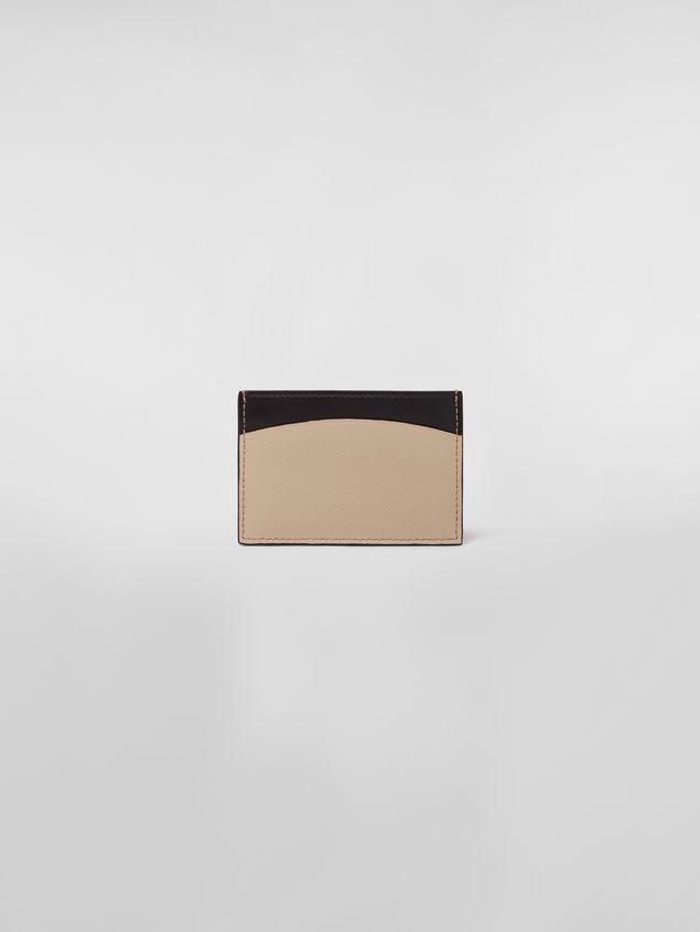 Marni Credit card case in calfskin black and tan Woman