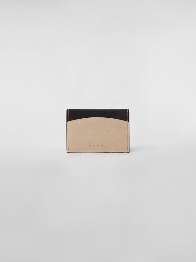 Marni Credit card case in calfskin black and tan Woman - 1