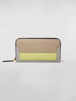 Marni Rectangular zip-around wallet in tan, yellow and gray saffiano leather Woman