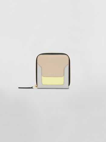 Marni Squared zip-around wallet in yellow, tan and gray saffiano leather Woman