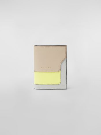 Marni Bi-fold wallet in yellow, tan and gray saffiano leather  Woman